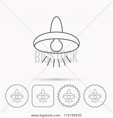 Ceiling lamp icon. Light illumination sign.