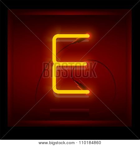 Realistic Neon Letter E Vector Illustration. Glowing Font.