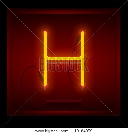 Realistic Neon Letter H Vector Illustration. Glowing Font.