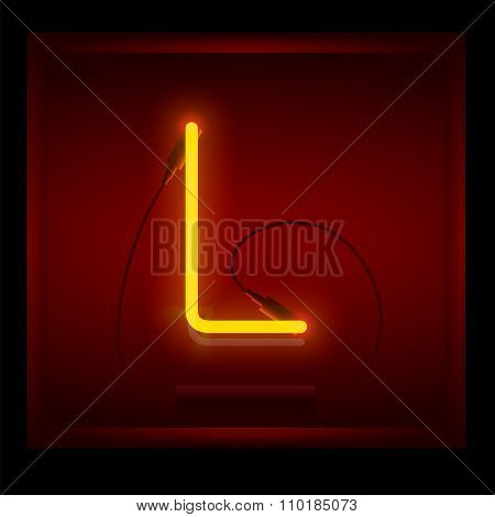 Realistic Neon Letter L Vector Illustration. Glowing Font.