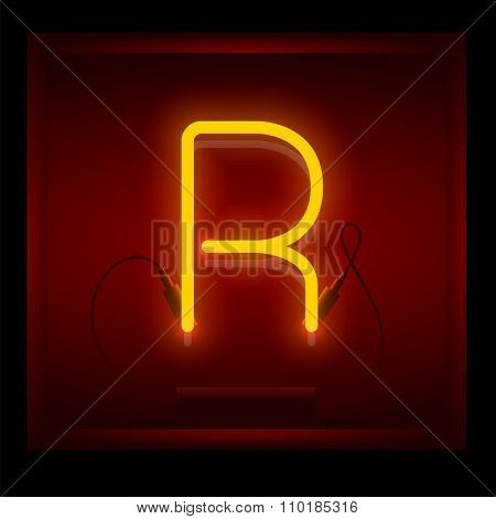 Realistic Neon Letter R Vector Illustration. Glowing Font.