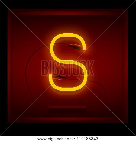 Realistic Neon Letter S Vector Illustration. Glowing Font.