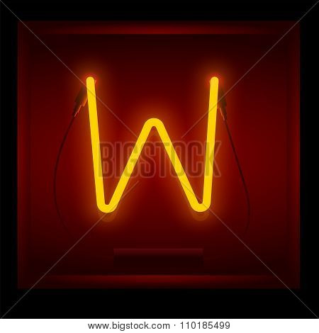 Realistic neon letter W vector illustration. Glowing font.