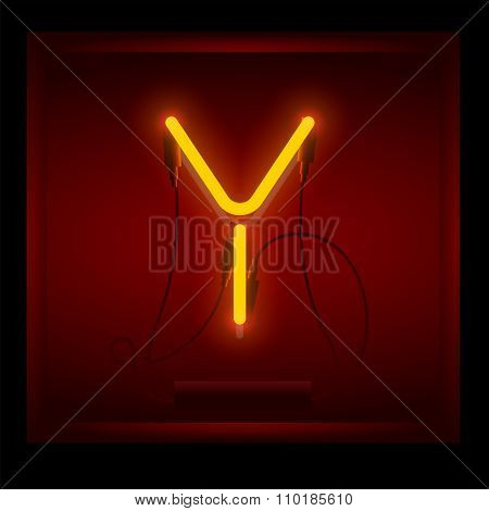 Realistic neon letter Y vector illustration. Glowing font.