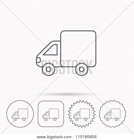 Delivery truck icon. Transportation car sign.