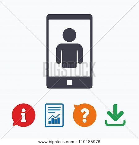 Video call sign icon. Smartphone symbol.