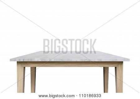 Empty Top Of White Mable Stone Table Isolated On White Background