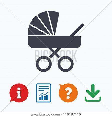 Baby pram stroller sign icon. Baby buggy symbol.