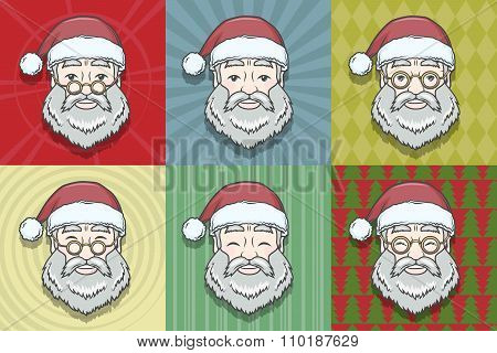 Set of smiling Santa Claus face with round glasses and pattern background. Happy New Year print desi