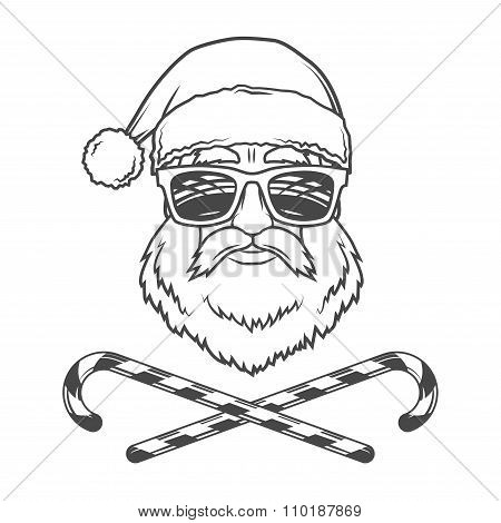 Santa Claus biker with candy cones and hipster glasses print design. Vintage disco man Christmas log
