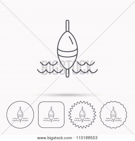 Fishing float icon. Fisherman bobber sign.