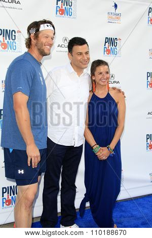 LOS ANGELES - JUL 30:  Clayton Kershaw, Jimmy Kimmel, Ellen Kershaw at the Clayton Kershaw's 3rd Annual Ping Pong 4 Purpose at the Dodger Stadium on July 30, 2015in Los Angeles, CA