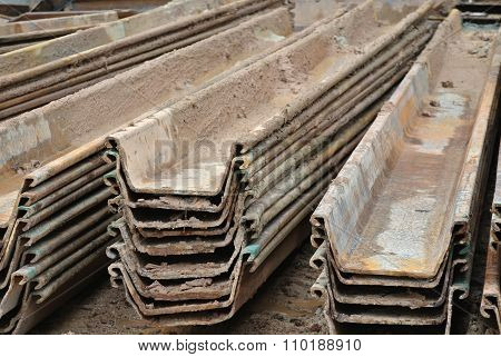 Stack of retaining wall steel sheet pile cofferdam