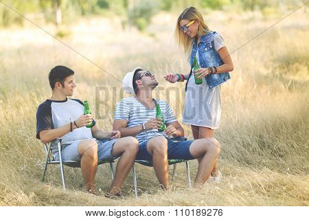 People drinking beer on rest