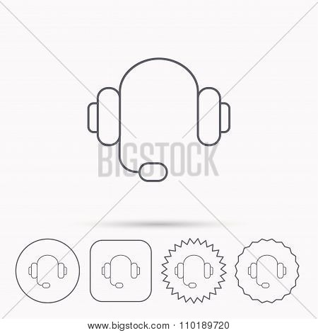 Headphones icon. Customer service help desk sign.