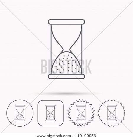 Hourglass icon. Sand time sign.