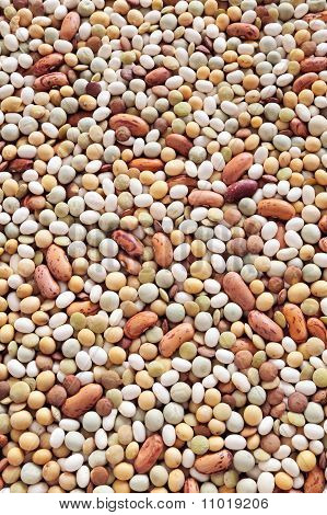 Mixed pulse - lentils, peas, soybeans, beans - background