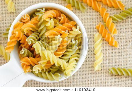 Three Kinds Of Raw Pasta.
