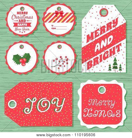 Set Of 7 Christmas Gift Tags