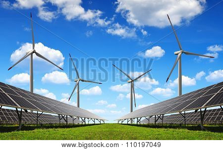 Solar energy panels and wind turbines.