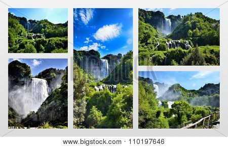 Italian destination, Marmore's falls, tallest man-made waterfall in Europe, photo collage