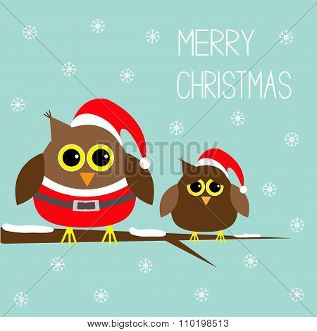 Two Cute Owls. Santa Claus Costume, Hat. Snowflakes. Merry Christmas Card. Flat Design.