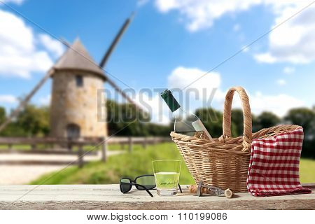 Picnic In France With A Old Mill In The Background