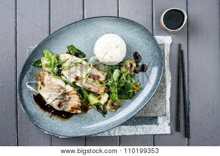 Saithe Filet Teriyaki with Vegetable and Rice