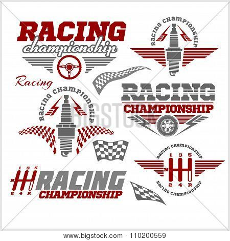 Car racing emblems and championship race vector badges