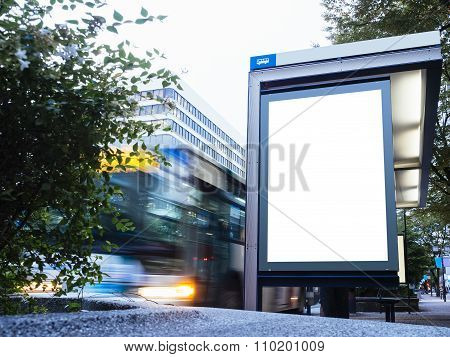Mock Up Billboard Light Box At Bus Station With Road And Cars Moving