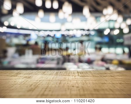 Table Top Counter With Blurred Bar Restaurant Lighting Interior Decoration