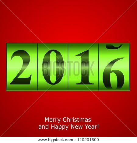 Green New Year counter on red background. Vector eps10 illustration