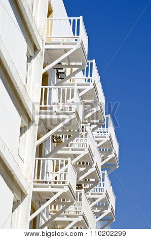 White Balconies From Beneath On Sunny Day