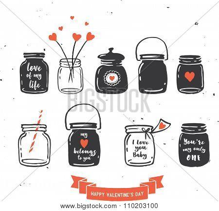 hand drawn mason jar collection, love quotes