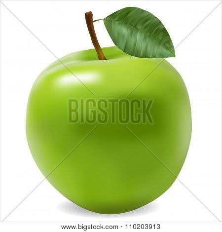 Green Ripe Apple Photorealistic
