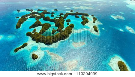 Beautiful view of tropical 70 islands national park in Palau from above