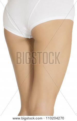 Sexy Legs Of A Young Caucasian Woman Isolated On White Background