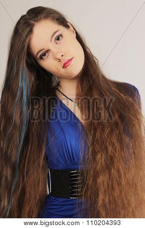 beautiful young girl with long dark hair