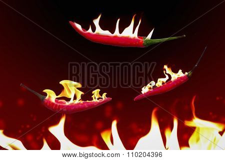 Hot Chili On Fire Flying Pan.