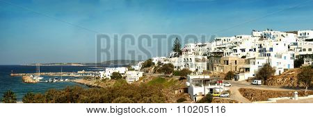 Panorama of Naoussa village at Paros island in the Cyclades, Greece