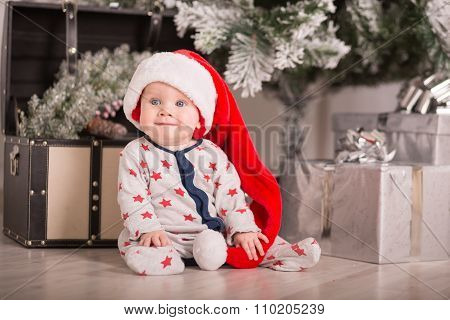 Beautiful Little Baby Celebrates Christmas