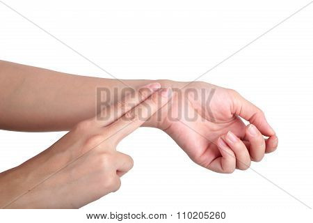 Female Hand Checking Pulse On White Background.