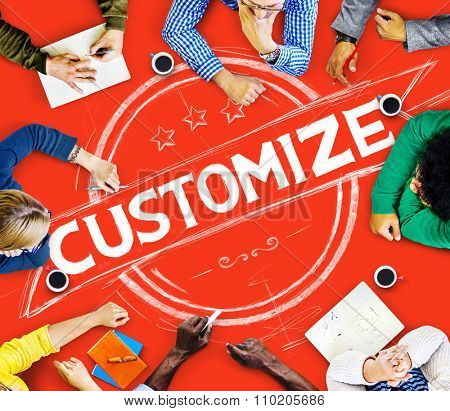 Customize People Search Engine Branding Marketing Online Website Customers Concept