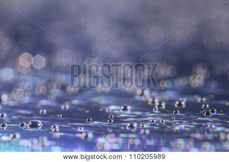 Abstract blurred rainbow water drops