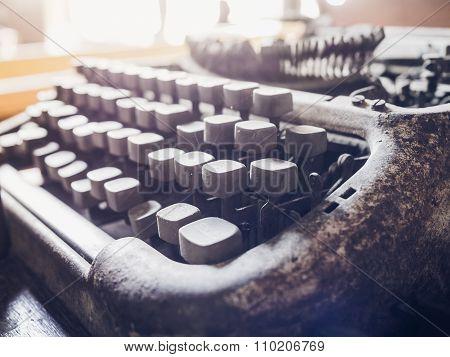 Old Typewriter Button Close Up