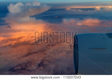 Sunrise Skyscape Viewed From Airplane