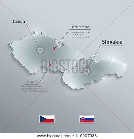 Czech Slovakia map flag glass card paper 3D vector Czechoslovakia separate maps