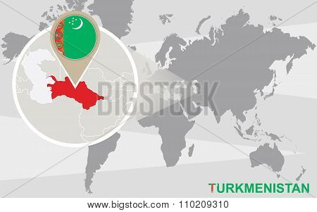 World Map With Magnified Turkmenistan