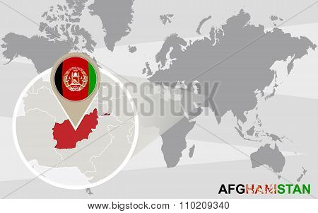 World Map With Magnified Afghanistan