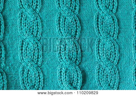 Green Knitted Wool Texture Can Use As Background